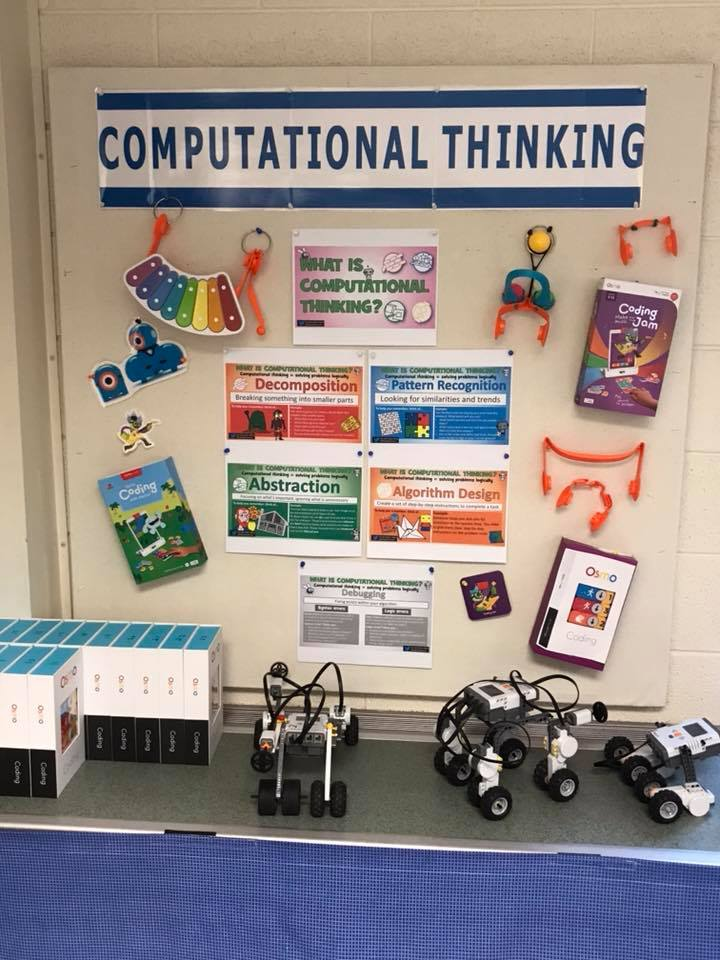 "Bulletin board called ""Computational Thinking"" and table with robots"